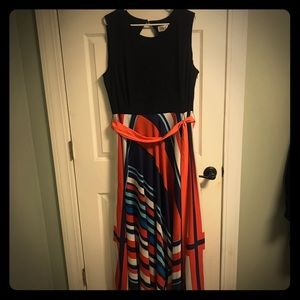 Eliza J red white blue 20W maxi dress with liner